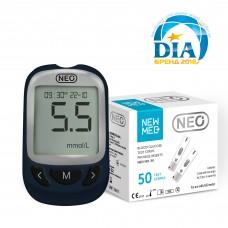 Система для контролю рівня глюкози в крові - NEO (синій) + 50 тест-смужок